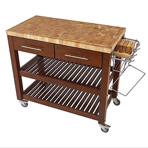 Chris & Chris JET1226 Rolling Kitchen Island - Food Prep Table with Durable  Cutting Surface, Juice Groove and Collection Pan - Includes Storage ...