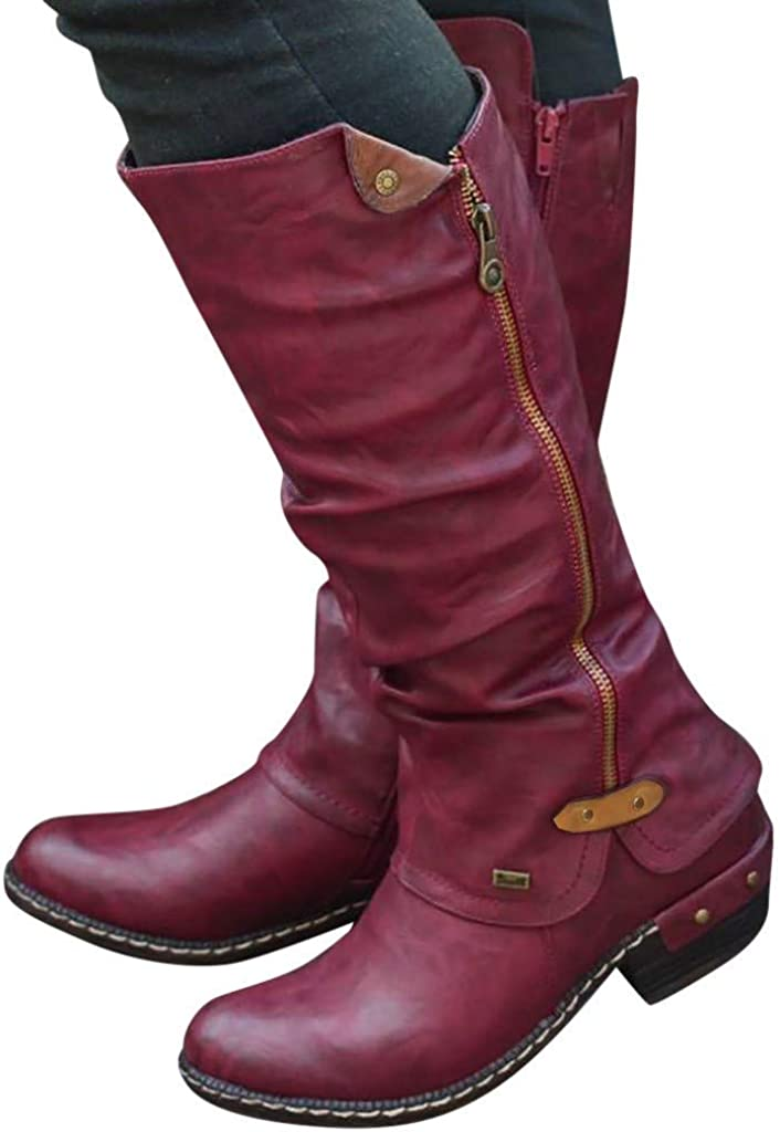 winter boots in Women Fashion Western Style Cowboy Riding Boots Casual Knee Middle Tube Boots