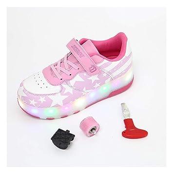 NF Los niños Luminosos de Doble Rueda Patines de Ruedas LED Intermitente Colorido Fitness Zapatos Skateboard