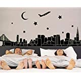 """Oren Empower """"Glow In Dark"""" - Dream City View Large Wall Sticker (Finished Size On Wall - 165(W) X 92(H) Cm)"""