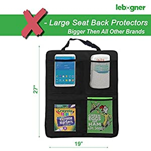 Kick Mat Auto Seat Back Protectors + 4 Large Organizer Pockets, Waterproof Seat Covers For The Back Of Your Seat 2 Pack, X-Large Car Back Seat Protectors, Backseat Organizer, Kick Guard Seat Saver