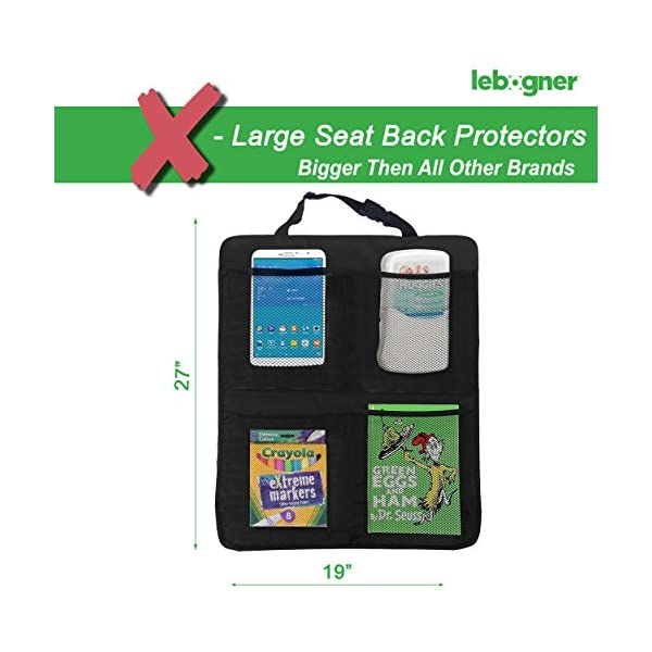 Kick Mat Auto Seat Back Protectors 4 Large Organizer Pockets Waterproof Seat Covers For The Back Of Your Seat 2 Pack X Large Car Back Seat Protectors Backseat Organizer Kick Guard Seat Saver