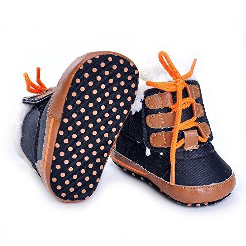 Estamico niños zapatillas de felpa de invierno cálido botas negro negro Talla:6-12 meses