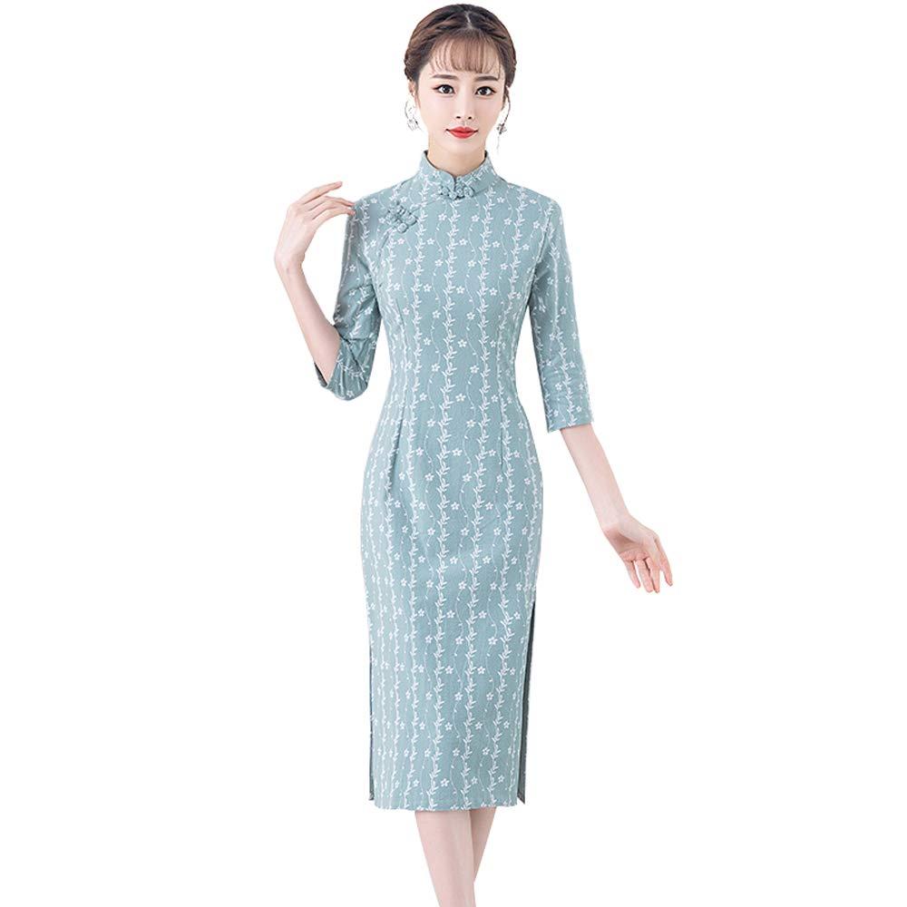 Bleu Clair XXL YONGMEI Cheongsam Robe 025 de la première Saison de la Saison des Fleurs