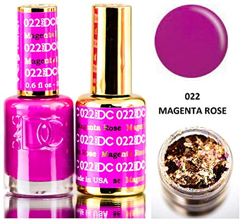 Nail Duo - DND DC Purples GEL POLISH DUO, Gel Lacquer 0.5 oz + Matching Nail Polish Color 0.5 oz, Daisy Nails (with bonus side Glitter) Made in USA (Magenta Rose (022))