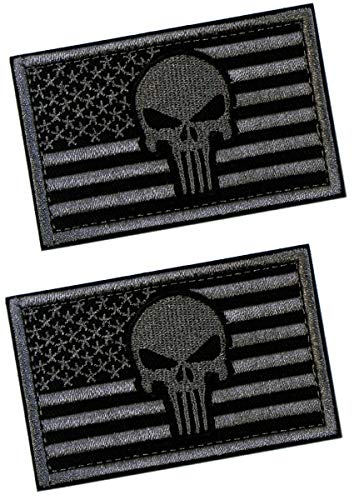 (2 PCS Tactical Patches of USA US American Flag with Punisher Skull, with Hook and Loop for Backpacks Caps Hats Jackets Pants, Military Army Uniform Emblems, Size 3x2)
