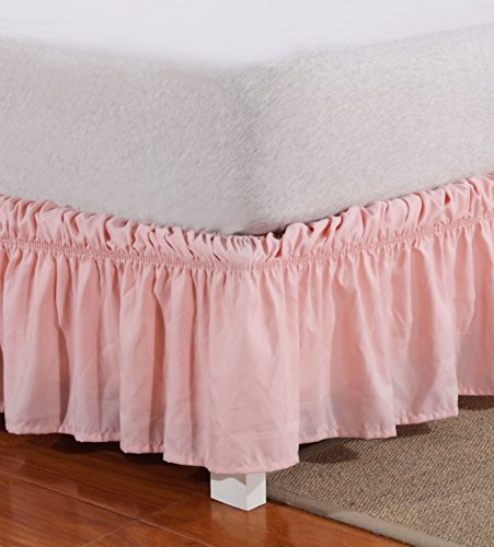 Mohap Light Pink Dust Ruffle Easy Fit Wrap Around Solid Color 16 inches Drop Queen Size