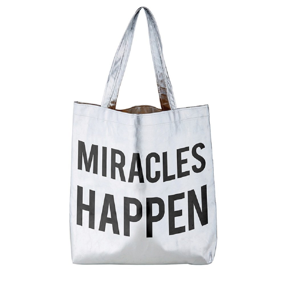 AT001 Pack of 2 Miracles Happen Silver Tote Bags. 16'' X 14.5''.