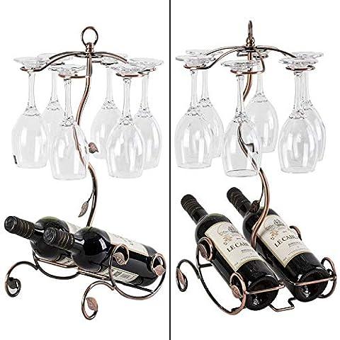 Sangyn Tabletop Freestanding Stackable Wine Glass Metal Rack Countertop 2 Wine Bottles Holder Display Stand