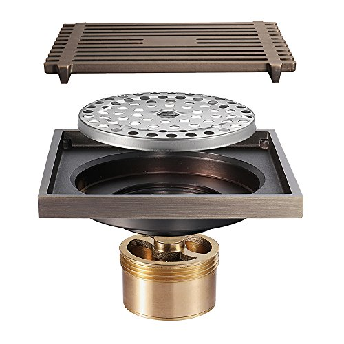 Shower Floor Drain Square Tile Insert 4-Inch Pure Cupper Brushed Grate Strainer With Removable Cover Anti-Clogging, High-Grade Bronze Floor Drain by YJZ
