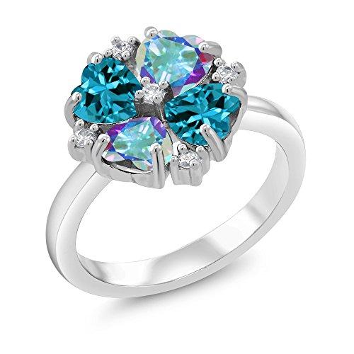 Gem Stone King 2.30 Ct Mercury Mist Mystic Topaz London Blue Topaz 925 Sterling Silver Ring (Size 7) (Mercury Mist)