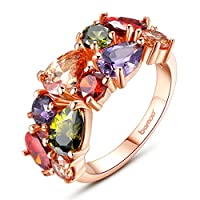 Bamoer 18K Rose Gold Plated Brass AAA Cubic Zirconia Solitaire Wedding Ring for Women Mother's Day Gifts