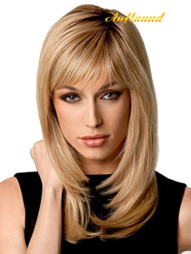 Natural Ombre Blonde Straight Wigs - Amorwig Shoulder Length Long Straight Blonde Hair Wigs With Darker Root For Women + Wig Cap  (Rub Faucet)