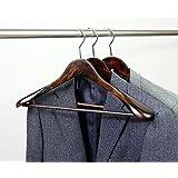 Morning-sunshine 5 Pack Solid Wooden Men Suit Hangers,Wide Shoulder Hangers,Chrome Hook Up,Big Capacity Hanger