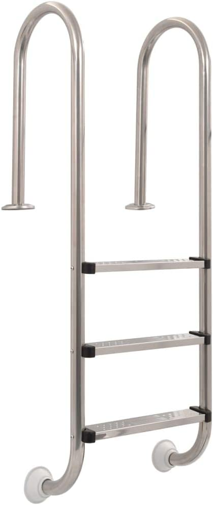 vidaXL Escalera de Piscina 3 Peldaños Acero Inoxidable 120cm Accesorio Piscina