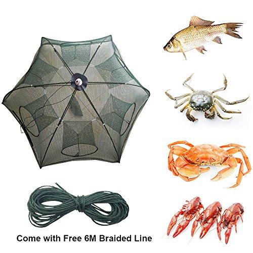 Portable Foldable 4/6/8/10/12/16 Holes Automatic Fishing Net Landing Net Trap Cast Dip Cage Fish Shrimp Trap Fish Net Minnow Crayfish Crab Baits Cast Mesh Trap (Automatic 6 Sides 6 Holes) (Lobster Traps Used)