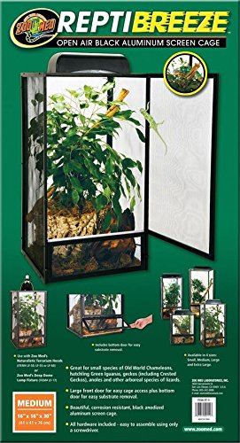 Zoo Med ReptiBreeze Open Air Screen Cage, Medium, 16 x 16 x 30-Inches (Medium Cage)