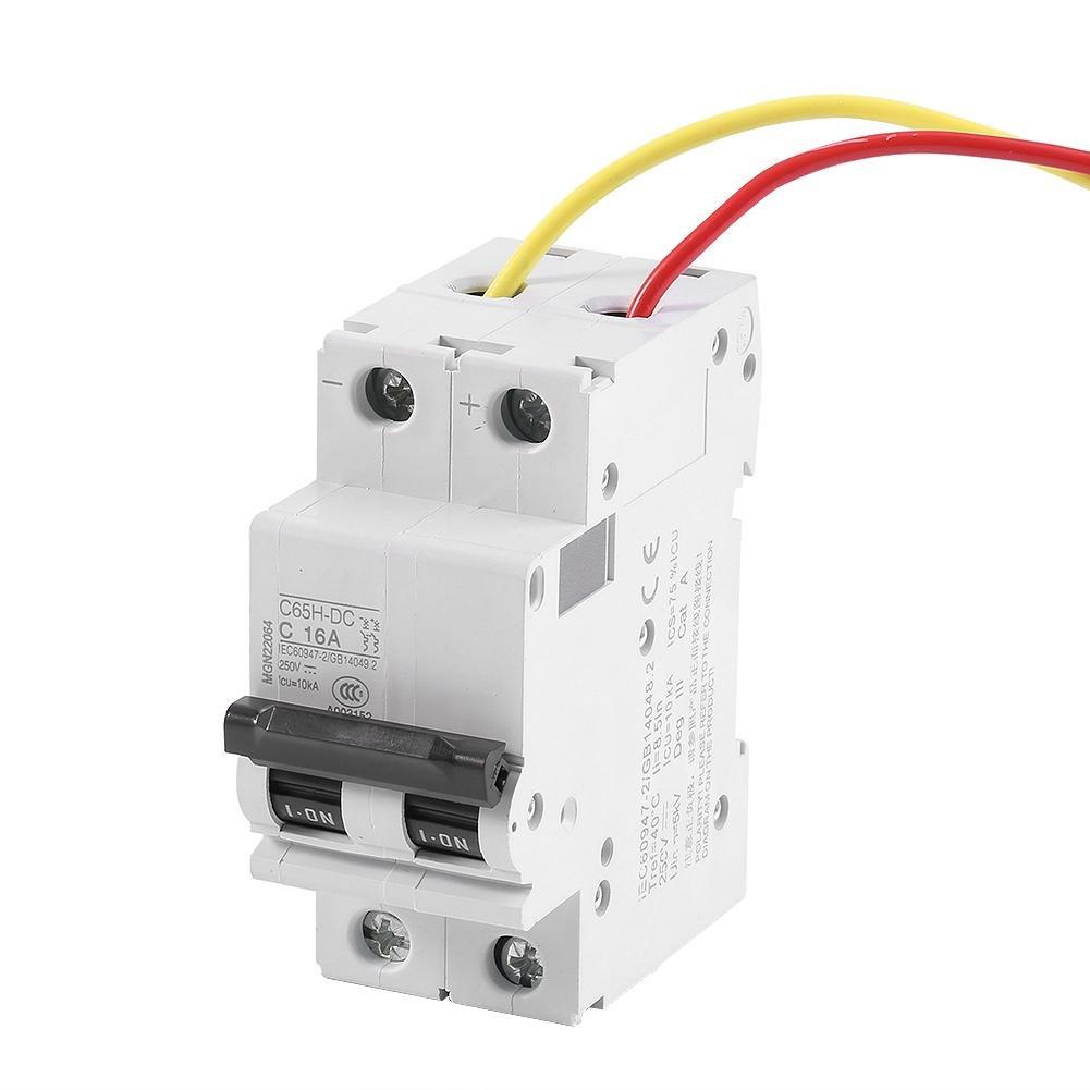 Zerone Interruptor autom/ático 250 V DC 2P Interruptor autom/ático de aire de bajo voltaje Interruptor de energ/ía solar 16A//32A//63A 16A