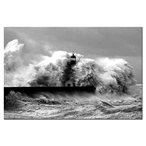 - Biuteawal - Black and White Wall Art Lighthouse in The Storm Canvas Print Ocean Wave Picture Painting for Home Office Living Room Decoration Gallery Wrapped Ready to Hang