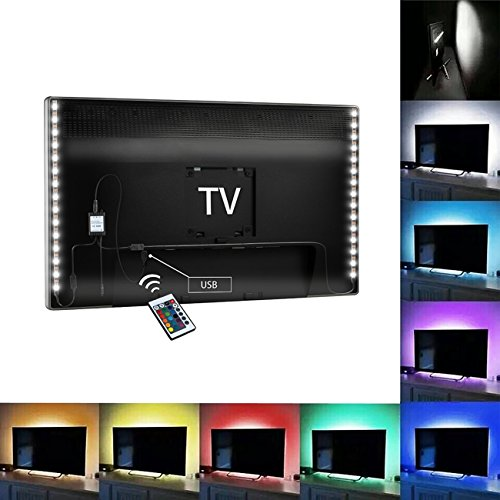 TV Backlight, Angozo Bias Lighting for HDTV, 2 RGB LED Strip USB Powered Home Theater Accent lighting Kit With Remote Control (Reduce eye fatigue and increase image clarity)