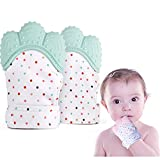 Baby Teething Mitten Soother Glove 2 Pack -Teething Toys Provides Self-Soothing Fun-Pain Relief Remedy for Sore Gums and Cutting Teeth, Gel Applicator for Babies 2-12 Months,BPA-Free