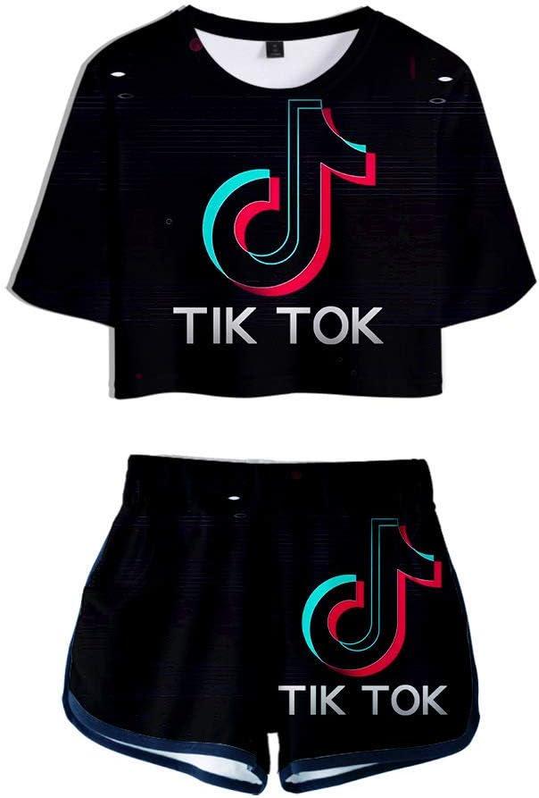 HGUIAZ TIK TOK Imprimiendo Camisetas Y Pantalones Cortos, Ropa Corta, Traje De Dos Piezas Para Niñas Y Mujeres Ropa Deportiva: Amazon.es: Ropa y accesorios