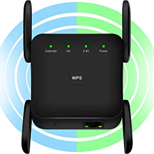 WiFi Extender, WiFi Booster -1200Mbps 2.4G & 5GHz WiFi Extenders Signal Booster for Home, WPS Setup WiFi Extender with Ethernet Port, 360° Full Coverage WiFi Signal Booster to Wireless Devices (Black)