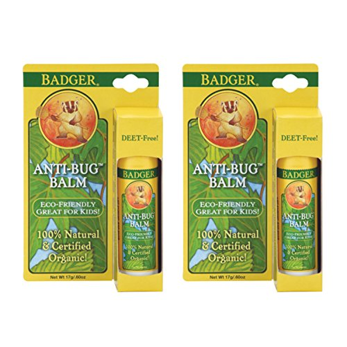 Badger Anti-Bug Balm Sticks With Castor Oil, Citronella Essential Oil, Lemongrass Essential Oil, Rosemary Essential Oil, Geranium Essential Oil, Extra Virgin Olive Oil and Beeswax, 0.6 oz (Pack of 2)