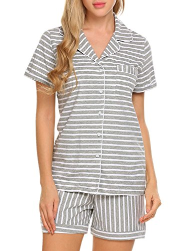 Ekouaer Pajama Set Womens Short Sleeve Sleepwear Cotton Pjs(Gray and White Stripe, Large)