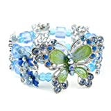 Perfect Gift - High Quality Elegant Butterfly Bangle with Blue Swarovski Crystal (1506)