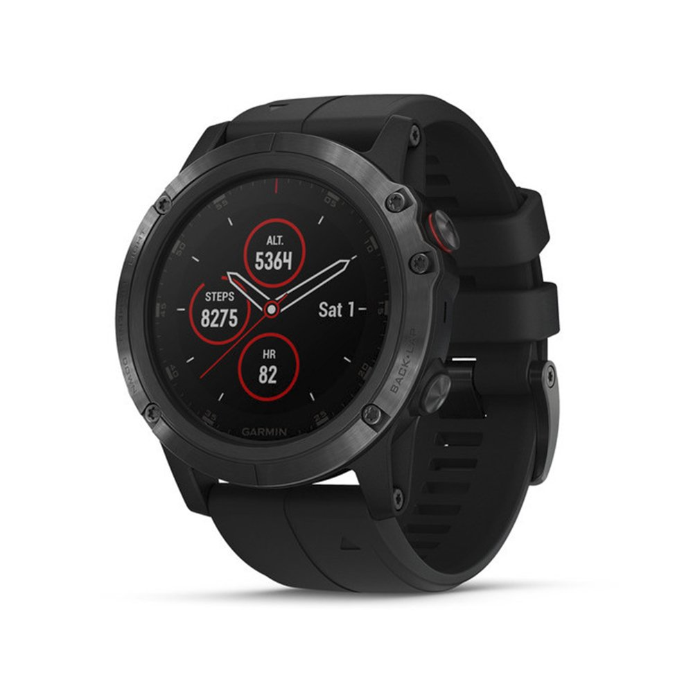 Garmin 010-01989-00 Fenix 5X Plus, Ultimate Multisport GPS Smartwatch, Features Color TOPO Maps and Pulse Ox, Heart Rate Monitoring, Music and Pay, Black Hardware/Black Band