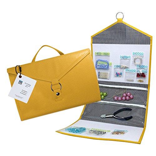 Craft Storage + Bead Organizer Gold ENVELOPE by KIT XCHANGE Travel Storage Bag + Hanging Jewelry Bead Organizer by Kit xChange