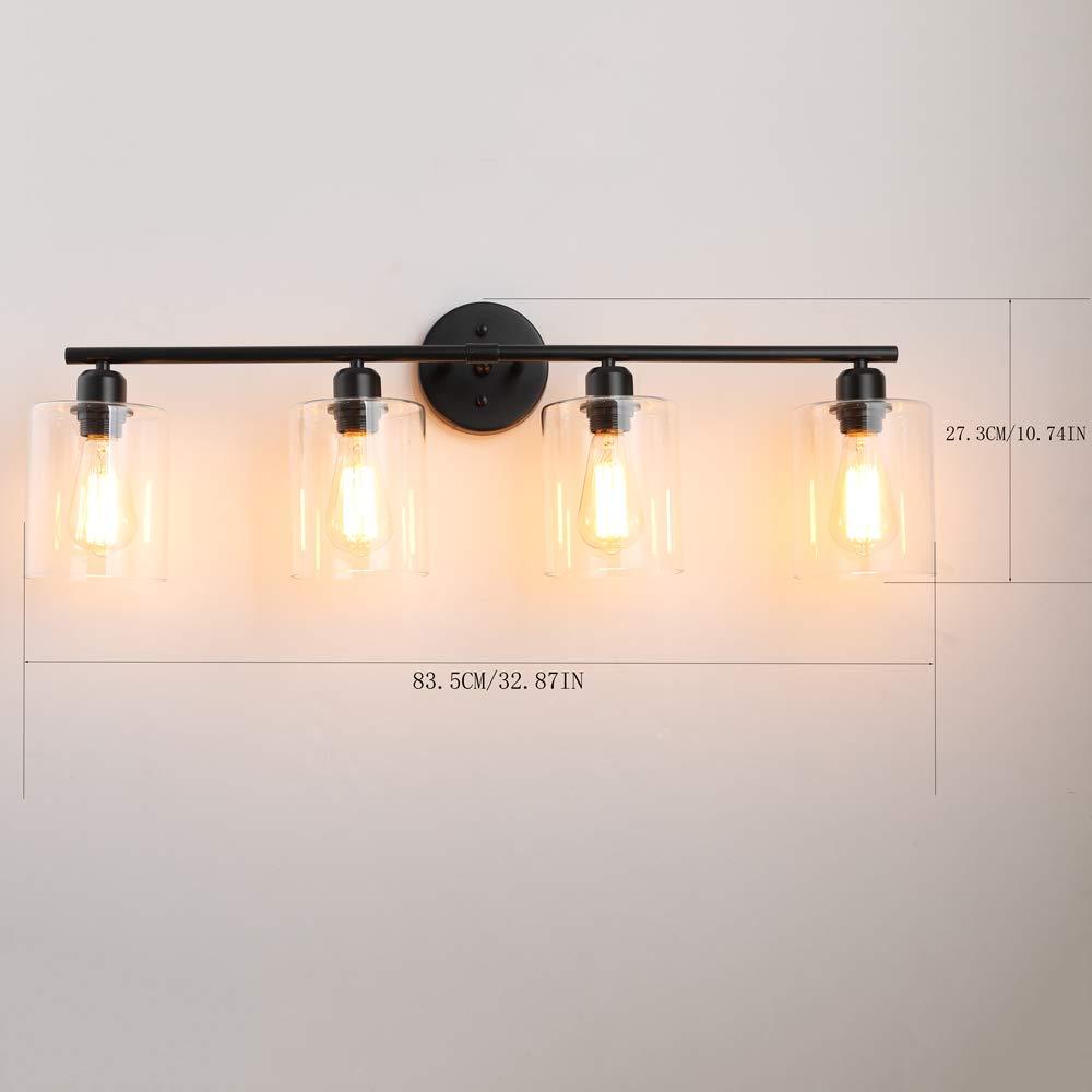 Dressing Table 4-Light-Industrial-Bathroom-Vanity-Light Hardwire Industrial Glass Wall Sconce Vintage Edison Wall Lamp Light Fixture for Bathroom 4 Lights Vanity Table