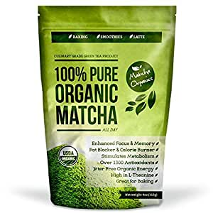 Matcha Green Tea Powder All Natural Weight Loss Metabolism Booster and Diet Smoothie Shake Mix and Fat Burning Supplement 113 Grams USDA Organic Culinary