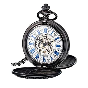 Hicarer Steampunk Blue Roman Dial Double Cover Windup Steel Skeleton Men Mechanical Pocket Watch