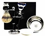 100% Hand Made Shaving Set for Men's.Ideal Gift This Christmas.Set Includes Pure Sliver Tip Badger Hair Brush, 3 Razors To Choose,Shaving Bowl with Soap and Brush Holder. (Gillette Fusion Razor)