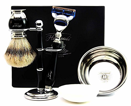 100% Hand Made Shaving Set for Men's.Ideal Gift This Christmas.Set Includes Pure Sliver Tip Badger Hair Brush, 3 Razors To Choose,Shaving Bowl with Soap and Brush Holder. (Gillette Fusion Razor) by Haryali London