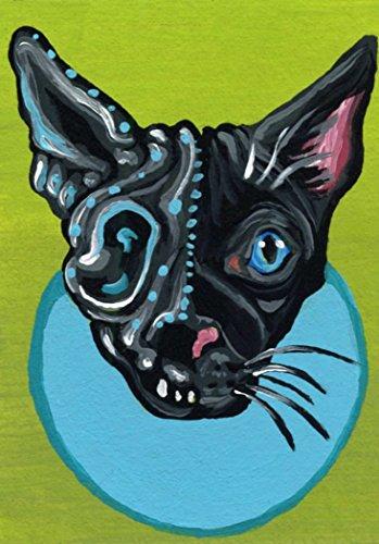 ACEO Original Trading Card-Day of the Dead Black Cat Sugar Skull Art-Carla Smale
