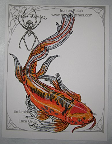 Lovely Red Butterfly Koi Goldfish Fish Iron on -