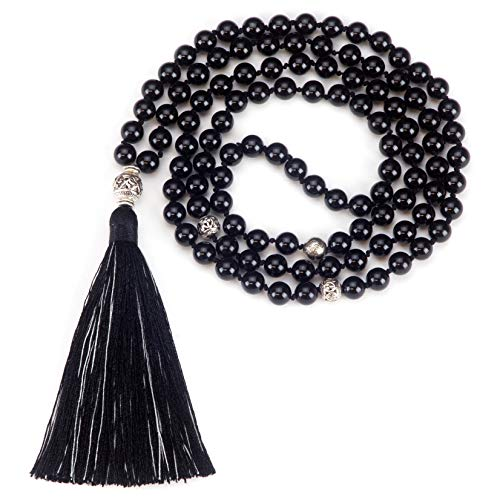 Cherry Tree Collection Mala Necklace | 108 Hand-Knotted 8mm Gemstone Round Beads, Antiqued Guru and Counter Beads, and Tassel | Meditation, Buddhist Prayer, Healing (Black Tourmaline) ()
