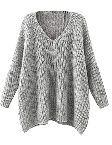 Milumia Dropped Long Sleeves Batwing Cable Knit Winter V Neck Loose Fit Sweaters Gray
