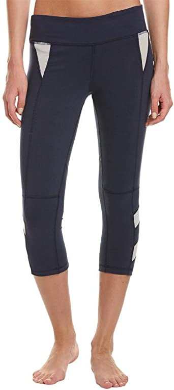 Zobha Womens Wonder Fitted Capris W//Shiny Jersey Contrast