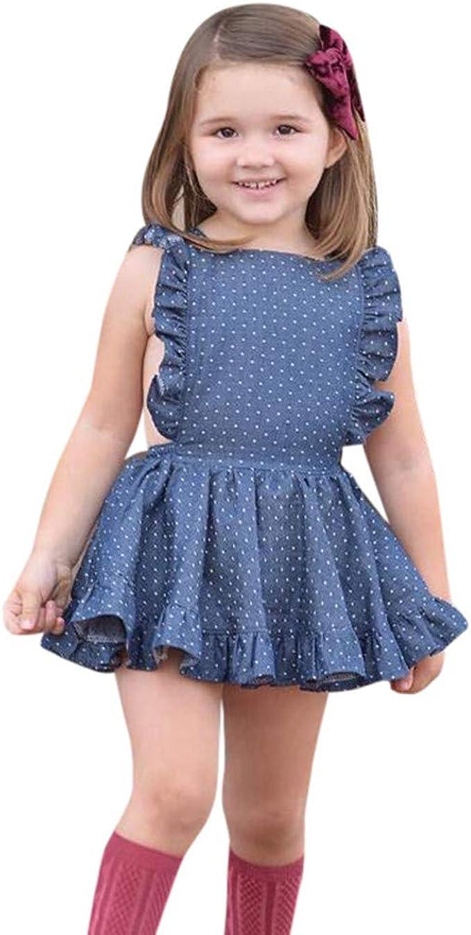 Kids Girls Summer Sleeveless Ruffle Frill Dress Children Polka Dot Beach Dress