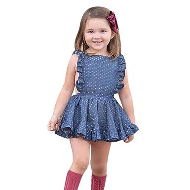 81848b6f839b Amazon.com: Toddler Kids Baby Girl Dress Princess Sleeveless Ruffle Polka  Dot Princess Tull Dress: Clothing