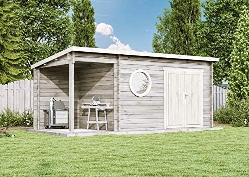 CARLSSON Maria-Rondo - Casa de jardín moderna de madera de abeto con cristal aislante: Amazon.es: Jardín