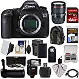 Canon EOS 5DS R Digital SLR Camera Body with 24-105mm f/4 L II Lens + 64GB Card + Battery & Charger + Backpack + Grip + Flash + Kit