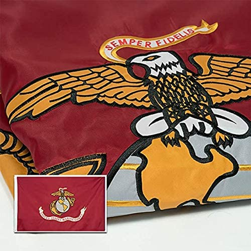 3x5 Embroidered USMC Marines Marine Semper Fi Double Sided 210D Nylon Flag EGA