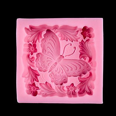 BAKER DEPOT mariposa suave silicona molde para jabón artesanal de jabón moldes Fondant molde color rosa: Amazon.es: Hogar