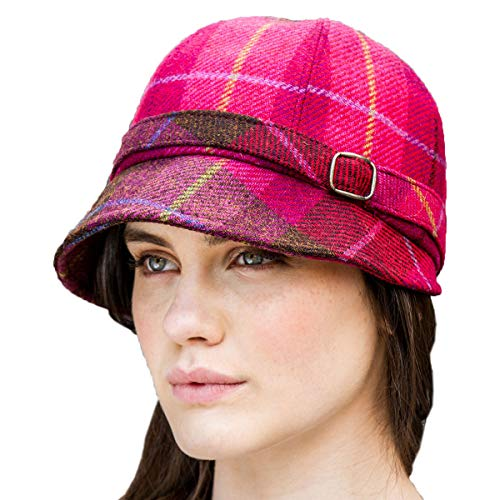 Irish Flapper Style hat. Red Plaid from Irish wool. Made in Ireland