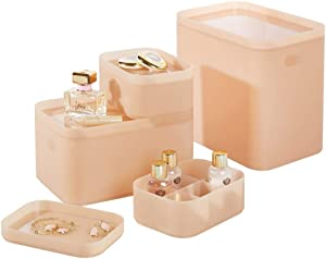 mDesign Modern Compact Plastic Storage Bins with Lids - Modular and Stackable - Nesting Organizing Containers for Home, Bathroom, Bedroom, Kitchen, Office - Set of 4 - Pink Frost